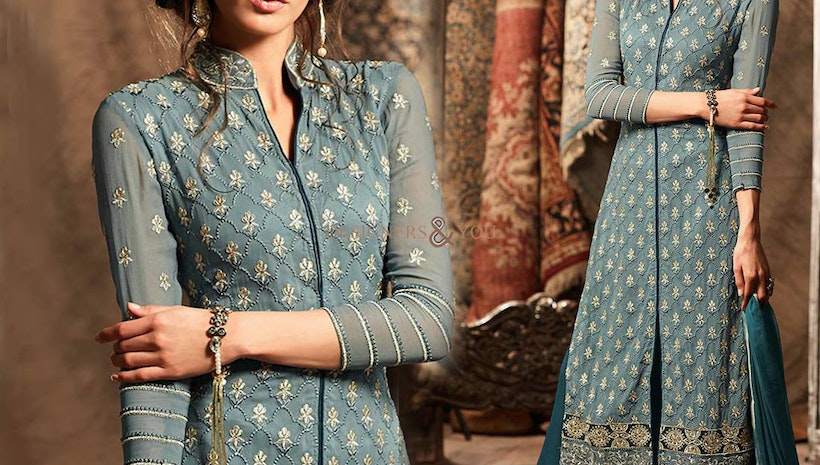 Heavenly Blue Designer Georgette New Punjabi Dress