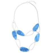 Tear Shape Necklace - Silver/Blue