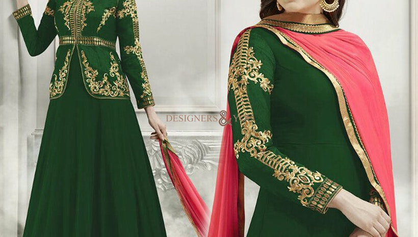 Mesmerizing Green Georgette And Silk Jacket Style Anarkali Churidar Design