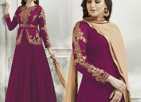 Striking Magenta Georgette And Silk Jacket Style Fancy Anarkali Dress
