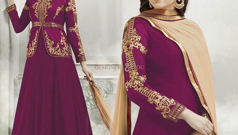 Striking Magenta Georgette And Silk Jacket Style Fancy Anarkali Dress