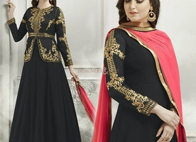 Elegant Black Georgette And Silk Jacket Style Anarkali Salwar Suit Online