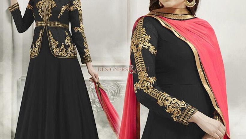 Elegant Black Georgette And Silk Jacket Style Anarkali Salwar Suit Online