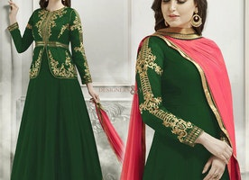 Mesmerizing Green Georgette And Silk Jacket Style Anarkali Churidar Design