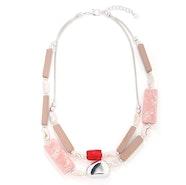 Rectangular Blocks Bean Necklace - Silver/Pink