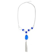 Blue Stone Tassel End Necklace - Silver/Blue