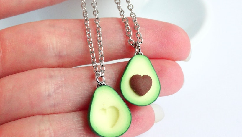 Best friend avocado necklace set heart pit bff gift