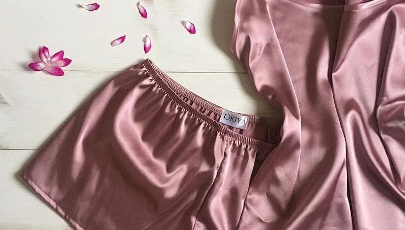 Women's satin pajama set (short and shirt)