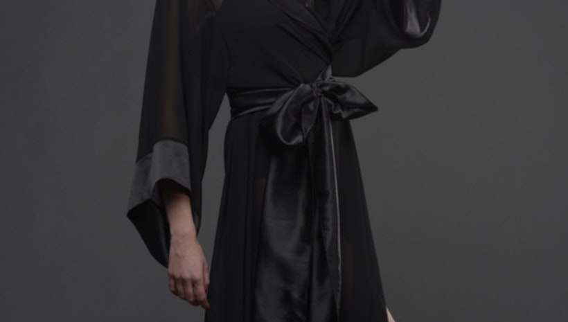 Women's black chiffon long robe