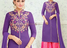 Aesthetic Purple Cotton Simple Salwar Kameez For Women