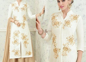 Delightful White Cotton Cheap Salwar Suit For Ladies