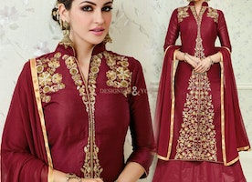 Fascinating Maroon Cotton Simple Salwar Suit For Women