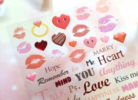 red lips sexy lips sticker Red heart marry me LOVE wording epoxy sticker Love story kiss me anniversary message quotes deco sticker