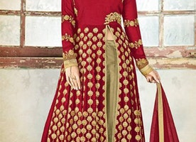 Elegant Maroon Georgette Khatli Work Party Wear Suit