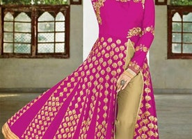 Charming Pink Georgette Khatli Work Party Wear Dress
