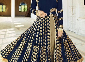 Fascinating Blue Georgette Khatli Work Designer Suit