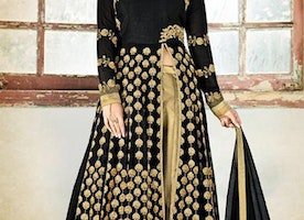 Mesmerizing Black Georgette Khatli Work Designer Dress