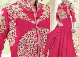 Elegant Pink Embroidered Georgette Designer Neck Back Ensemble