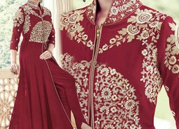 Pretty Maroon Embroidered Georgette Suit With Front Cut