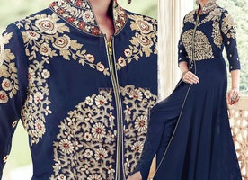 Pleasing Blue Embroidered Georgette Dress With Front Slit