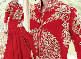 Delightful Red Embroidered Georgette Designer Suit