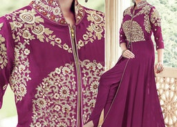 Ephemeral Violet Embroidered Georgette Party Suit For Women