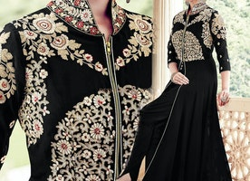 Charming Black Embroidered Georgette Party Wear Suit