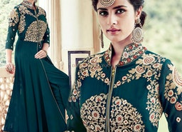 Gorgeous Dark Green Embroidered Georgette Party Dress For Ladies