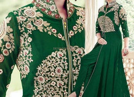 Appealing Green Embroidered Georgette Designer Dress For Women