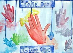 """Hands - Take One, Give One"" Watercolor Painting & Statement Art"