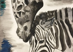 Watercolor Painting Of A Giraffe and Zebra