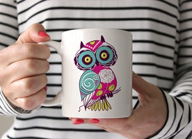 Adorable Pink & Blue Owl Coffee Mug. Whoooo's a Mogul?