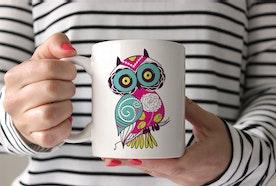 Adorable Pink & Blue Owl Coffee Mug. Whoooo's a Mogul?
