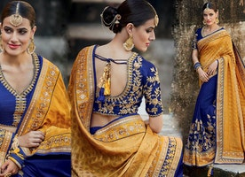 Delightful Blue Silk Blouse Yellow And Blue Half And Half Saree Design
