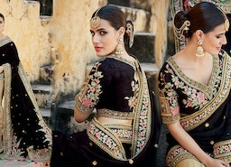 Alluring Black Silk Jacket Black And Beige Half And Half Sari
