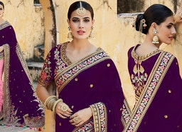 Decent Violet Silk Top Violet And Pink Half And Half Sari Design