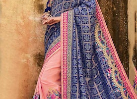 Aesthetic Blue Silk Top Blue And Peach Indian Half Sari