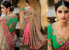 Divine Green Silk Blouse Peach And Pink And Green Half Saree Online