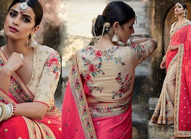 Smashing Beige Silk Jacket Peach And Beige Half Sari Online