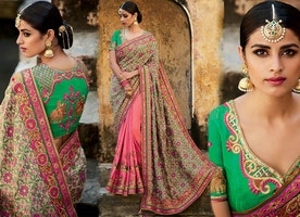 Nice Green Silk Top Beige And Pink Modern Half Sarees