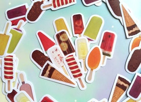 40 ice cream Ice pop sticker ice popsicles iced dessert die cut label sticker summer on a sticker mixed medial paper decor sticker gift