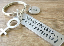 Nevertheless, She Persisted Keychain, optional initial disc