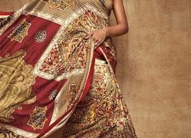 Stylish Multicolor Digital Print Work Silk Party Wear Saree