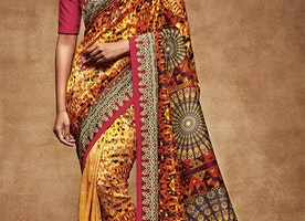 Smart Multicolor Digital Print Work Silk Latest Party Sari