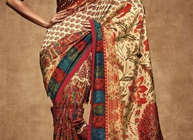 Chic Multicolor Digital Print Work Silk Latest Party Saree