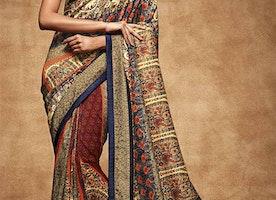 Fascinating Multicolor Digital Print Work Silk Trendy Sari