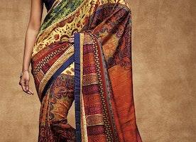 Captivating Multicolor Digital Print Work Silk Trendy Saree