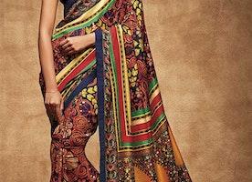 Enchanting Multicolor Digital Print Work Silk Sari For Party