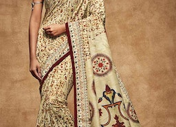 Magnetic Off White Digital Print Work Silk Stylish Sari For Party