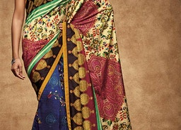 Lovable Multicolor Digital Print Work Silk Stylish Saree For Party